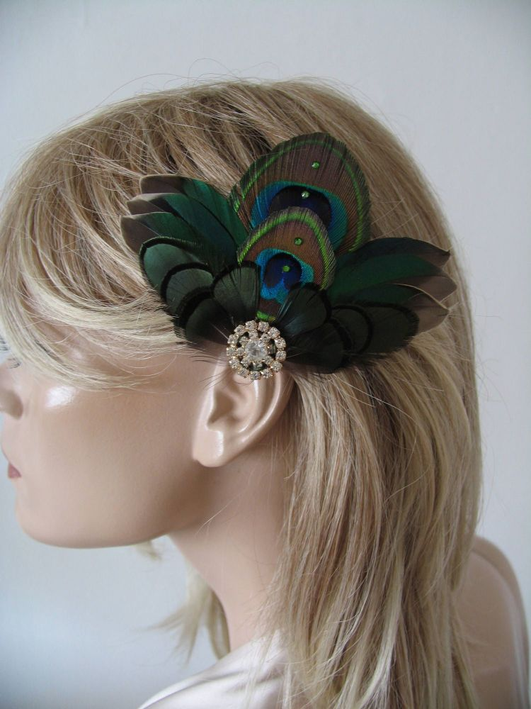"Green Teal Duck and Peacock Feathers Fascinator Bridal Hair Clip ""Kath"" Vintage Theme Wedding"